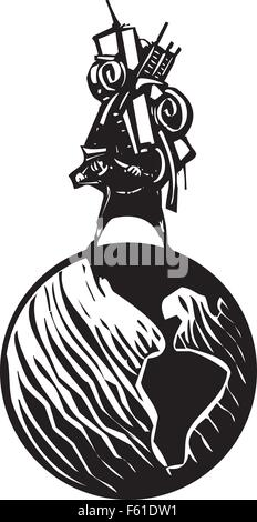 Woodcut style image of man carrying all his possessions on his back astride a globe - Stock Photo