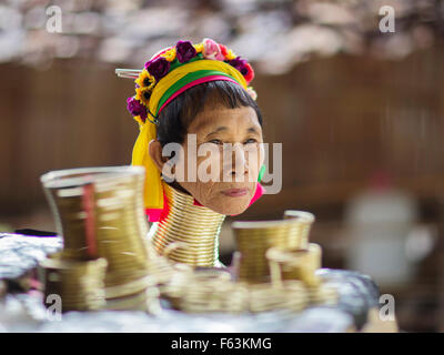 A lady from the Kayan ('long neck') hill tribe in northern Thailand - Stock Photo