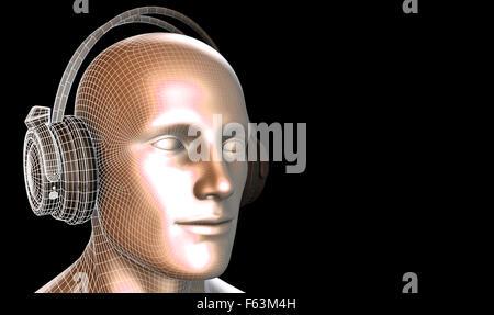 Man Listening to Music Meditating in Earphones 3d - Stock Photo