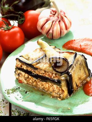 Smoked tofu Moussaka - Stock Photo