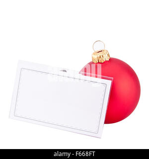 Christmas red bauble and blank business card. Isolated - Stock Photo
