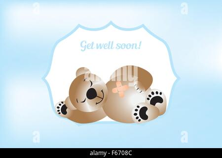 Get will soon card with bear - vector illustration - Stock Photo
