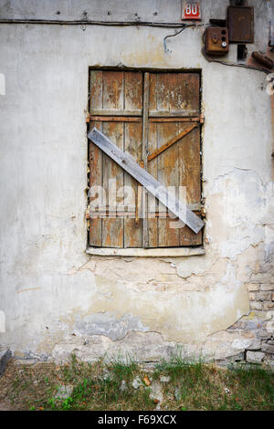 An Old And Broken Boarded Up Window Stock Photo Royalty