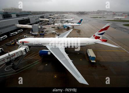 British Airways 777 at Gatwick - Stock Photo