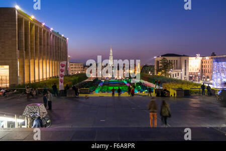 View of Mont des Arts / Kunstberg park in Brussels just after sunset. In the background city buildings and the town - Stock Photo