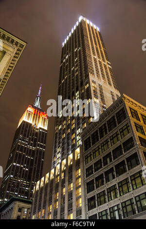 Empire State Building in German Flag Color - Stock Photo