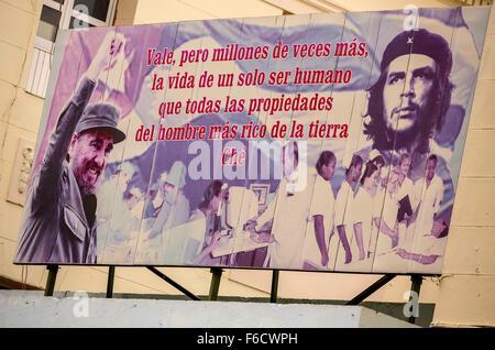 Poster with Fidel Castro and Che Guevara, advertising poster, political poster, propaganda poster, La Habana, Havana, - Stock Photo