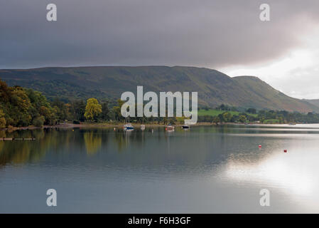 Views from  Pooley Bridge Pier of boats on Ullswater Lake District National Park, Cumbria, England, Uk, Gb. - Stock Photo