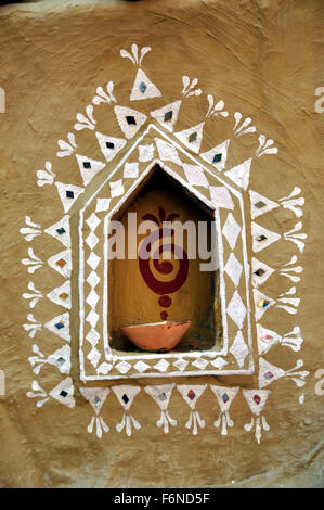 Diya in niche of decorative wall, rajasthan, india, asia - Stock Photo