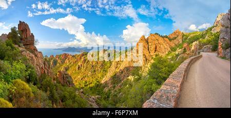 Landscape with Mountain road through the Calanches de Piana, Corsica Island, France, UNESCO - Stock Photo