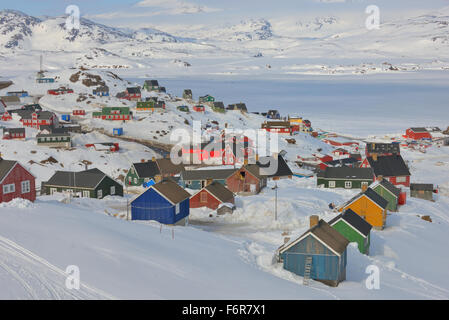 Greenland houses in spring time - Stock Photo