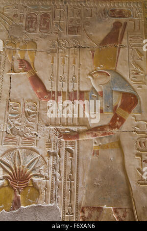 Bas-relief of the god Horus, Temple of Seti I; Abydos, Egypt - Stock Photo