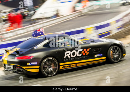 London, UK. 21st Nov, 2015. Three-time Formula 1 grand prix winner Daniel Ricciardo of Australia drives during The - Stock Photo
