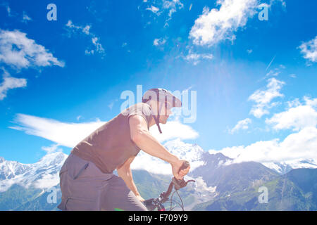 Male mountain bike French Chamonix - Stock Photo
