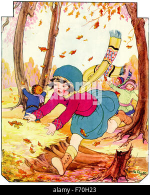 Vintage magazine cover illustration by Priscilla Pointer of children playing oudoors in autumn - 1926 - with clipping - Stock Photo