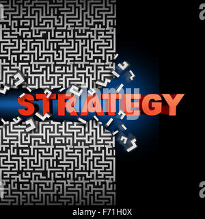Strategy solution concept and game plan symbol as text breaking through a maze or labyrinth puzzle as a financial - Stock Photo