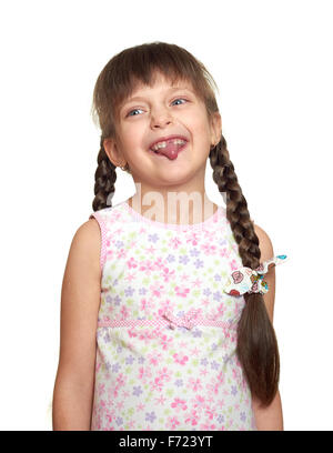 lost tooth girl portrait, studio shoot on white background - Stock Photo