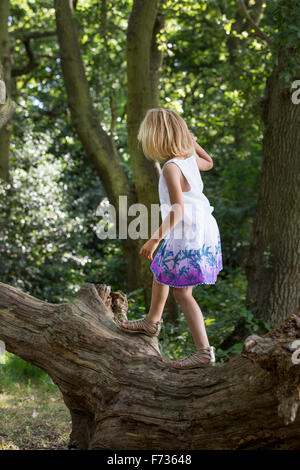 Young girl balancing on a tree in a forest. - Stock Photo
