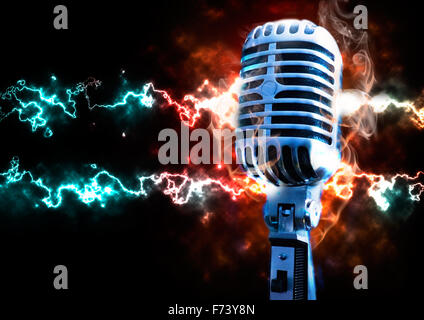 Music illustration with vintage microphone and explosion with fire and ray - Stock Photo