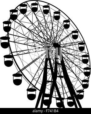 Silhouette atraktsion colorful ferris wheel. Vector illustration - Stock Photo
