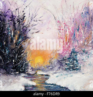 Original  abstract oil painting of beautiful  winter landscape on canvas.Winter scene.Modern Impressionism, modernism, - Stock Photo