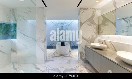 Double Basin In Bathroom With Mirror Reflection In