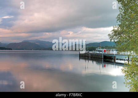 Steamer and Ferry Landing on Ullswater Lake, Pooley Bridge, Lake District National Park, Cumbria, England, Uk, Gb - Stock Photo