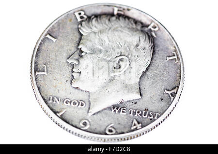 1964 silver dollar featuring John F Kennedy before his assassination - Stockfoto