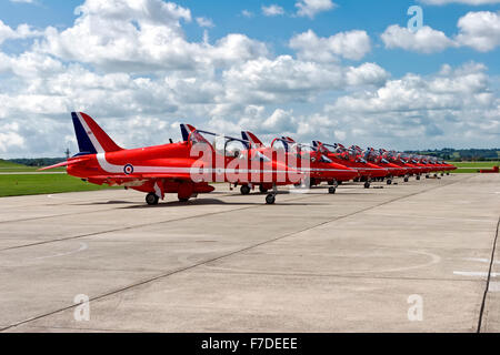 The Royal Air Force Red Arrows Aerobatic Display Team. - Stock Photo