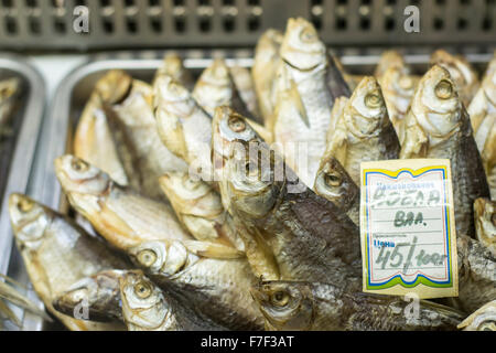 Dried salted fish on display at fish market stock photo for Salted cod fish near me