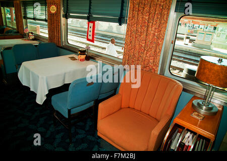 Dining car of Pearl Harbor Day Troop train reenactment from Los Angeles Union Station to San Diego - Stock Photo