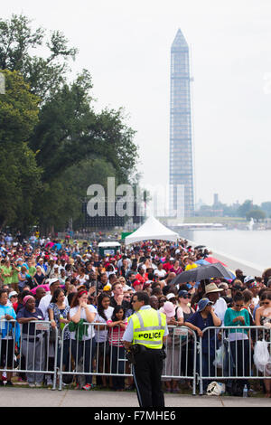 Audiences on the National Mall at the Washington Monument listen to Presidential speeches at the Let Freedom Ring - Stock Photo