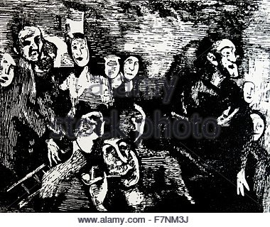 Woodcut of a group of Jewish captives by Erich Kahn (1904-1979) German Expressionist, and a survivor of the Nazi - Stock Photo