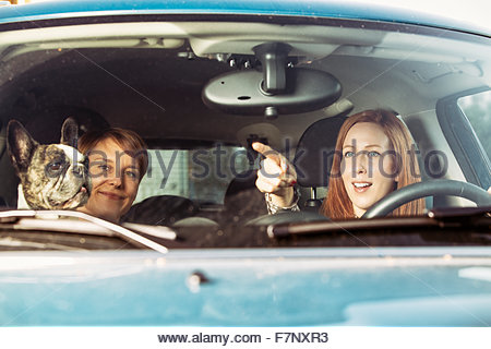 Two female friends sitting in a car with their French bulldog - Stock Photo