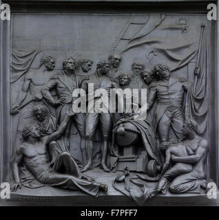 detail in relief from Nelson's Column monument in Trafalgar Square in central London - Stock Photo