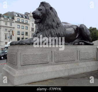 Lion statue at the base of Nelson's Column monument in Trafalgar Square in central London built to commemorate Admiral - Stock Photo
