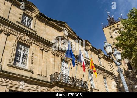 Town Hall, Hotel de Ville, Clock Tower, Aix-en-Provence, Bouche du Rhone, Provence, France - Stock Photo