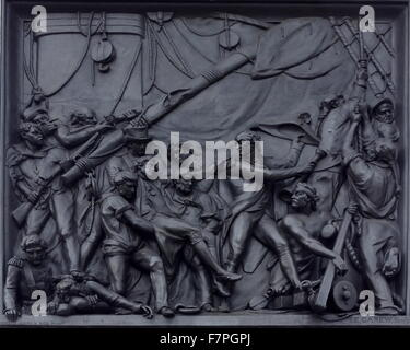 Relief from the base of nelson's Column monument in Trafalgar Square in central London built to commemorate Admiral - Stock Photo