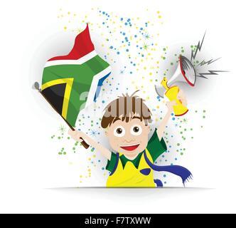 South Africa Soccer Fan Flag Cartoon - Stock Photo