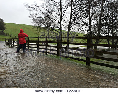 Holwick, Middleton-in-Teesdale, Co Durham, UK. 5th December 2015 A lady cautiously takes a photo whilst standing - Stock Photo