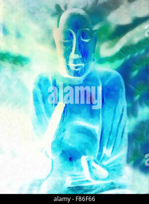 Buddha silhouette in lotus position against colorful grunge background - Stock Photo