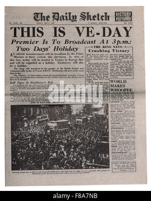 A reproduction newspaper the Daily Sketch with the headlines that WW2 is over VE day - Stock Photo