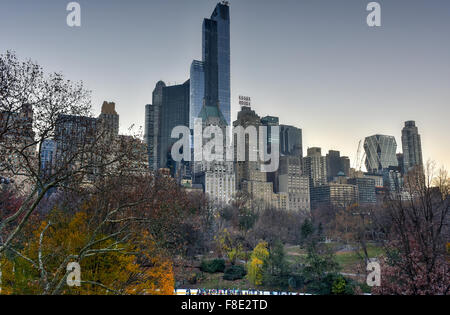 New York City - December 5, 2015: New York Skyscrapers from Central Park. - Stock Photo