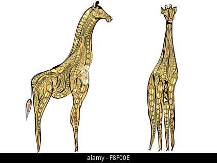 two giraffes. ethnic giraffe isolated on a white backgroundolated - Stock Photo