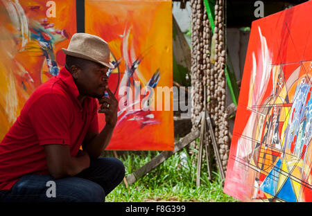 Art gallery, Grand Bassam, Ivory Coast - Stock Photo