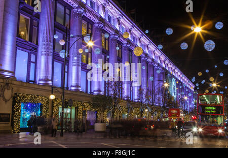 LONDON, UK - DECEMBER 9TH 2015: A view of the beautifully illuminated Selfridge department Store during Christmas - Stock Photo