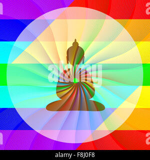 Buddha in meditation with rainbow waves from his heart - Stock Photo