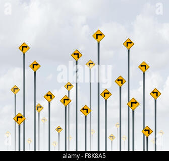 Way signs confused direction business concept as a group of traffic signage with different arrows pointing in opposite - Stock Photo