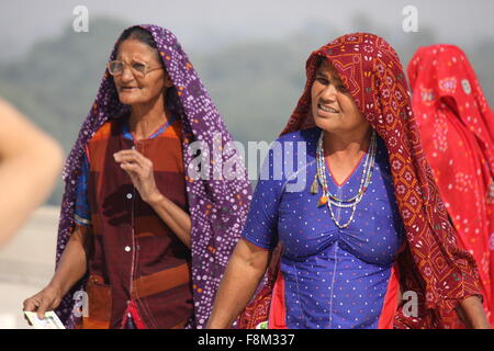 DELHI, INDIA - NOV 26: Two indian woman with traditional veil at Taj Mahal in Delhi, on November 26 2012. - Stock Photo