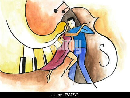 Man and woman dancing on musical background. Dancing couple with piano and double bass background. - Stockfoto